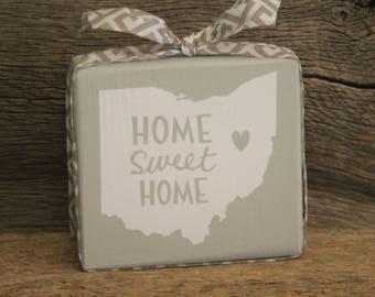 Ohio Home Sweet Home Wood Block