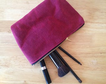 Waxed Canvas Pouch. Waxed Canvas Water Resistant Makeup Bag. Organic Make Up Bag. Cosmetic Zipper Clutch. Zip Makeup Pouch.