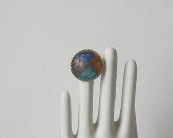 5day Mothers Day 20% SALE Vintage Upccyled Ring Turquoise purple Swirl Blue Gold Cobalt 80s Adjustable Rainbow