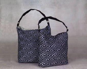 black and white handbag - over the shoulder purse - over shoulder bag - canvas shoulder bag - canvas hobo bag - womens shoulder bag