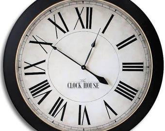 FARM HOUSE 36in CAMBRIDGE Roman-Gold Inner Ring-Large Wall Clock-Wedding Gift-Oversized Clock-Family Heirloom-Free Inscription