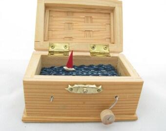 sailboat automaton, unique gift, nautical kinetic sculpture, small wooden box, beach art decor, treasure chest