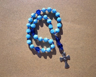 Anglican Episcopal Rosary, Faceted Light and Dark Blue Glass Beads with and Silver Tone Cross, Protestant Rosary, Christian Gifts