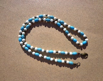 Magnesite Necklace, Gemstones Dyed Turquoise Blue with Pyrite Gemstones and Carved Bone Beads, 22 Inches, Unisex Necklace, Gifts for Men
