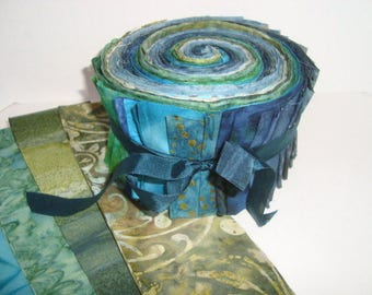 Blue Green Batik Jelly Roll   YES!! Combined economical shipping