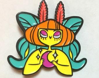 Luna Mothgirl Fairy Enamel Pin