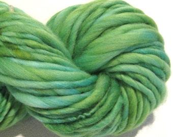 Handspun Yarn Almost Solid Green 64 yards hand dyed merino wool green yarn waldorf doll hair knitting supplies crochet supplies