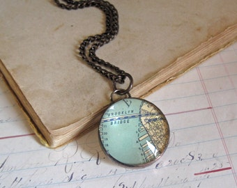 Brooklyn Bridge Map Pendant Glass Bubble Jewelry