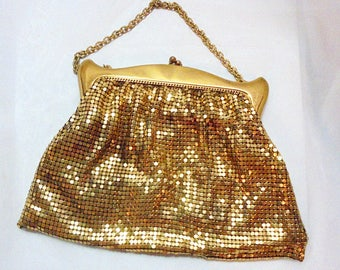 Vintage 20's Gold Tone Mesh Whiting & Davis Evening Purse