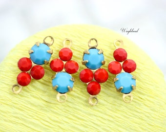 Connector Opaque Red & Turquoise Blue 13x6mm Rhinestone Charms Swarovski Crystals Set Stones Earring Drops - 4