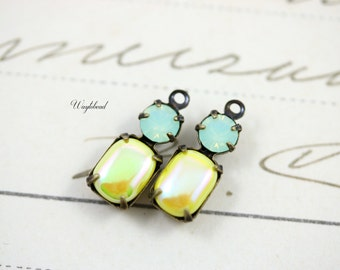 AB Yellow & Chrysolite Opal Connector Vintage Octagon Stone Swarovski Crystal Set Stone Brass Settings 16x6mm Earring Dangle - 2