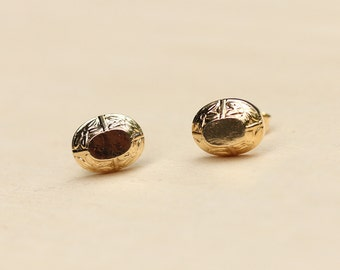 Flower Dome Studs - Gold or Silver Plated