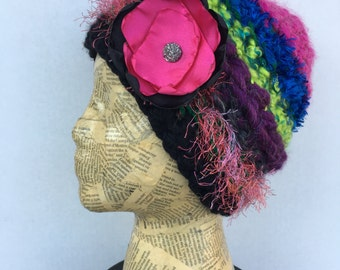 Crocheted, Beanie Hat, in Bright Green, Pink, Royal Blue, Black, Purple, Peach with Removable Flower Pin