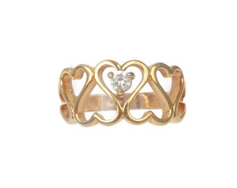 Heart Design Ring  Crystal Accent Gold Tone Size 6  Size M