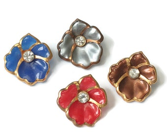 Four Pansy Flower Scatter Pins Red Blue Silver Bronze Vintage