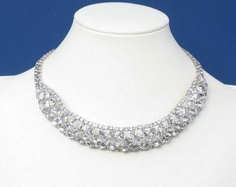 Rhinestone Collar Necklace Clear Crystals Vintage Wedding Bridal Diva Glamor Girl