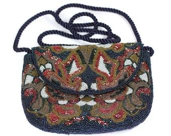 Multi Color Beaded Evening Handbag Special Occasion Wedding Vintage