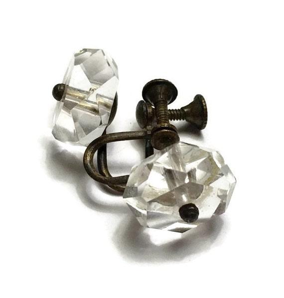 Art Deco Faceted Crystal Earrings Screw Back Vintage