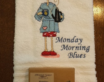 Monday Morning Blues Gift Set - Coffee Pot Towel - Monday Morning Blues Soap - Coppertone Soap - Coppertone Scent