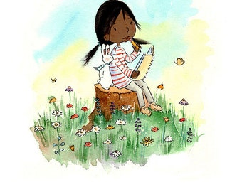 The Artist  - Black Girl with Bunny-  Art Print