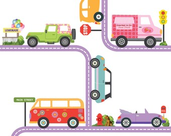 Girls Adventure Cars with Purple Road Wall Decals Curved & Straight, Removable and Reusable