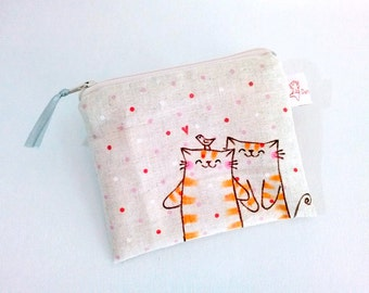 Illustrated cat purse change purse coin purse wallet pouch original drawing Christmas friendship gifts cute illustration polka dot fabric