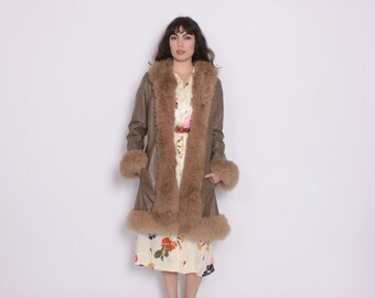 Vintage 70s FUR Trim COAT / 1970s Shaggy Shearling Fur & Leather Winter Jacket