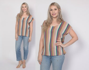 Vintage 80s SILK Top / 1980s Pastel Striped Loose Fit Blouse