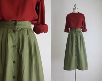 olive midi skirt