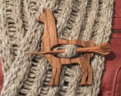 Wooden Llama Shawl Pin, Oak, Scarf Pin