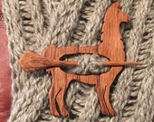 Wooden Llama Shawl Pin, Oak, Scarf Pin