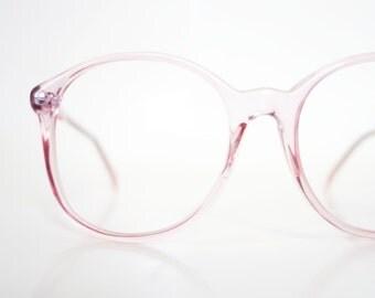 Huge Oversized 1980s Round Pink Eyeglasses Womens Pastel Honeysuckle 80s Clear Deadstock NOS New Old Stock Transparent Eighties