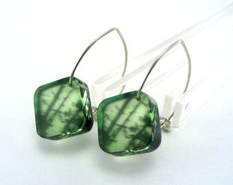 Perspex Earrings - Green Drop Earrings - Acrylic dangle earrings - Enchanted Forest earrings - Plastic drop earrings - Perspex Jewellery