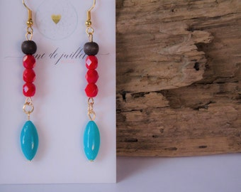 Rouge turquoise boucles d'oreille bohème gypsie zen bois
