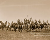 Brule War Party, Professionally Restored Large Reprint Vintage Photograph by Edward Curtis of Native American Sioux warriors on the attack