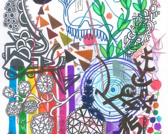 Psychic Sudarium No.2 - Abstract Art - Original Ink Drawing - Pure Psychic Automatism