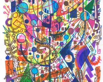 Psychic Sudarium No.8 - Abstract Art - Original Ink Drawing - Pure Psychic Automatism