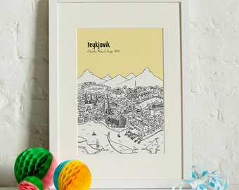 Personalised Reykjavik Print | Reykjavik Gift | First Anniversary Gift | Engagement Gift | Unique Wedding Gift | Travel Related Gift |