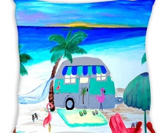 Air stream retro camper on the beach with flamingos double sided art throw or body pillow case from my art