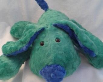 Stuffed Puppy Dog Soft Toy -  Kelly Green and cobalt blue Minky Dot Fabric - stuffed animal - minky dot dog - Plushie - Custom Colors -