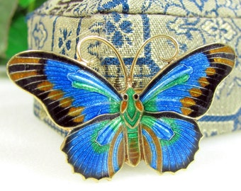 Vintage CHINESE EXPORT BUTTERFLY Pin Silver And Enamel Brooch Blue Green Gold