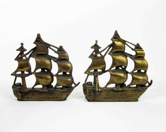 Vintage Brass Nautical Ship Bookends. Circa 1960's.
