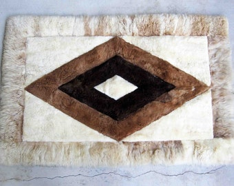 Vintage Alpaca Fur Wall Hanging, Rug, or Throw. Circa 1960's - 1970's.