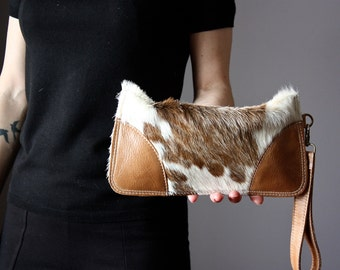 Spotted Cowhide clutch, Cat clutch, hair on hide clutch, unique leather clutch, cowhide wallet, purse, pouch, kitten clucth, cat lady bag