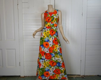 60s / 70s Poppies Dress- 1970s Maxi Dress in Bright Floral Print- Long- Small- Festival Hippie