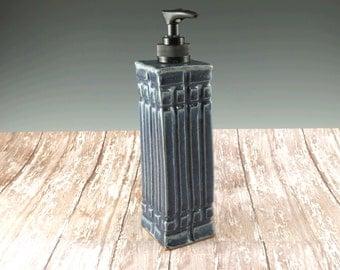 Ceramic Pottery Soap Dispenser in Blue - Hand Soap Pump - Mission Style Lotion Dispenser - 917