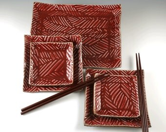 Porcelain Sushi Plate Set - Handcrafted Ceramic Dinnerware Set - Ruby Red - Glacial Drift Pattern - Ready to Ship - 221