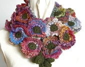 Floral Fall - Fancy - Crochet Multicolor Wool Yarn Flower Scarf