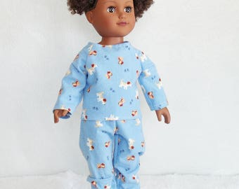 "18 inch Doll Pajamas & slippers, Dog print doll pajama set, blue flannel dolls pj's, 18"" doll paw prints and doggy pajamas, doll sleepwear,"