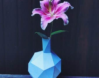 Flower Pot 3d papercraft. You get a PDF digital file with this template and instruction for DIY minimalist home decoration.